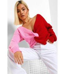 petite gedraaide gebreide colour block trui, pink