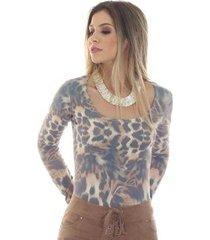 blusa ficalinda manga longa decote redondo feminina