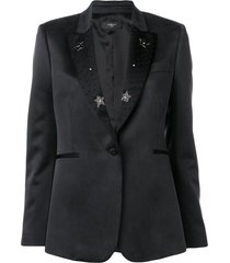 amiri beaded lapel blazer - black