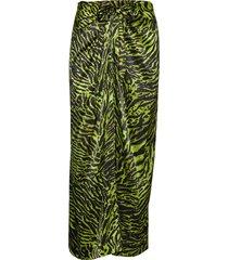silk stretch satin skirt lång kjol grön ganni