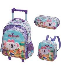 kit mochila com rodinhas lilica ripilica vem ripilicar com lancheira e estojo duplo feminina