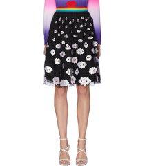 'catrina' rainbow waistband cloud embroidered skirt
