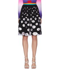 'catrina' rainbow waistband cloud embroidered skirt