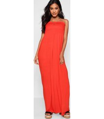 gesmokte strapless maxi jurk, oranje