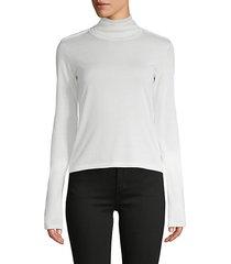 mockneck long-sleeve silk & cotton-blend sweater
