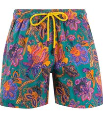 etro paisley patterned drawstring swim shorts - green
