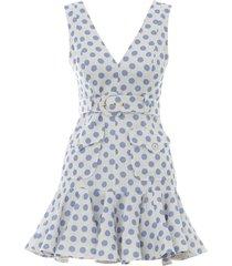 super eight safari mini dress in ivory/blue dot