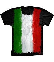 camiseta baby look lu geek flag italia preto - preto - feminino - dafiti