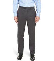men's big & tall john w. nordstrom torino classic fit flat front solid dress pants, size 48 x - grey