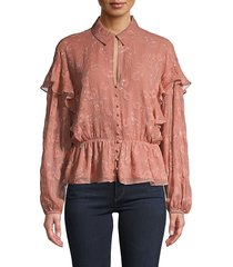 joie women's embroidered silk & cotton-blend top - rose - size xxs