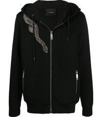 john richmond beaded-snake zip-up hoodie - black