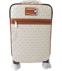new michael kors signature vanilla pvc travel trolley rolling carry on suitcase