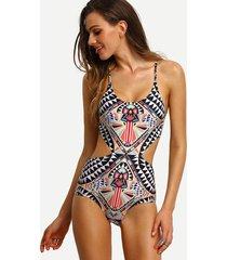 sw65 celebrity fashion tribal aztec print cut-out monokini one piece swimsuit