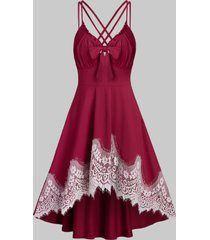 lace insert knotted strappy high low dress