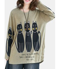 camicetta a maniche lunghe girocollo con stampa gatto