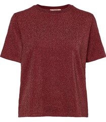 loose fit tee in lurex quality t-shirts & tops short-sleeved röd scotch & soda