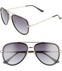 women's quay australia all in 52mm mini aviator sunglasses - black/ smoke fade