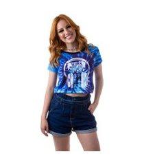 camiseta cropped feminina overfame speaks music tie dye md05