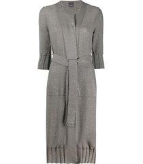 lorena antoniazzi belted sequin cardigan - grey