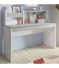 mesa escrivaninha france 2 gavetas canova/branco - artany