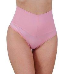 calcinha vip lingerie poliamida lisa cós duplo alto rosa
