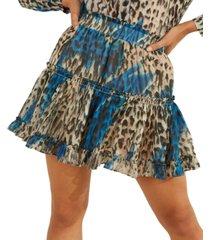 guess karida printed ruffled mini skirt