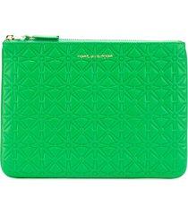 comme des garçons wallet 'colour embossed a' purse - green