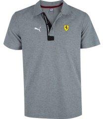 camisa polo puma scuderia ferrari 596150 - masculina - cinza