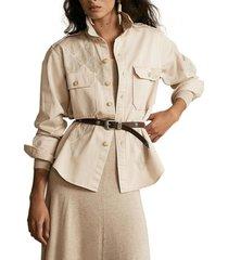 blusa beaded cotton twill beige polo ralph lauren