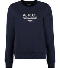 a.p.c. tina logo detail cotton sweatshirt