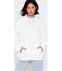 womens now it's pullover oversized hoodie - white
