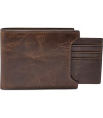men's fossil derrick 2 in1 bifold leather wallet