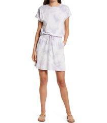 women's c & c california barbara tie dye dolman sleeve pocket jersey dress, size medium - purple