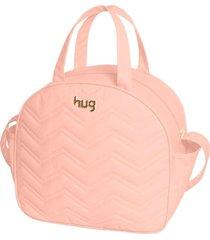 bolsa maternidade hug baby grande linha chevron rosa - tricae
