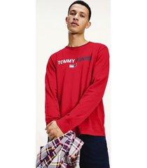 tommy hilfiger men's organic cotton contrast logo t-shirt deep crimson - xs