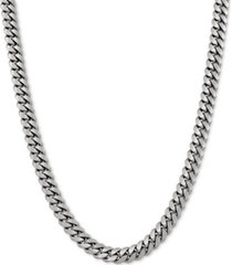 """cuban link 22"""" chain necklace in sterling silver"""