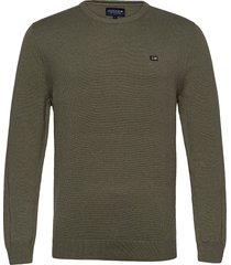 bradley organic cotton crew neck sweater gebreide trui met ronde kraag groen lexington clothing