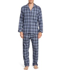 men's majestic international trimmings plaid cotton flannel pajamas, size small - blue