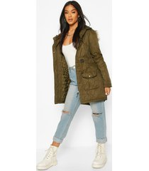 faux fur trim parka jacket, khaki
