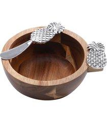 conjunto de 2 peças bowls de madeira e espátula – linha  abacaxi