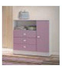 cômoda 3 gavetas e 1 porta lilás para bebês e crianças