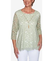 alfred dunner women's missy springtime in paris solid lace top with necklace