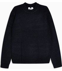 mens navy and black chunky sweater