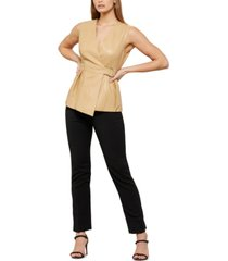bcbgmaxazria faux-leather belted top