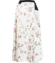marine serre floral-print flared skirt - neutrals