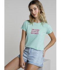 """blusa feminina """"tudo fluindo..."""" manga curta decote redondo verde"""