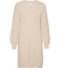 objnete v-neck l/s dress a q dresses knitted dresses creme object