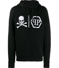 philipp plein statement logo skull hoodie - black