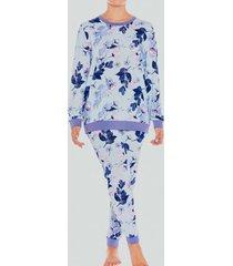 pijama jersey estampado flores denim baziani