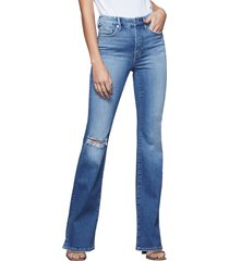 good american good flare ripped split hem flare jeans, size 14 in blue458 at nordstrom